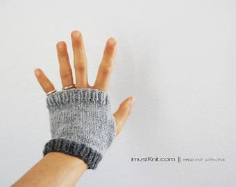 knitted fingerless gloves || 2-way to wear fingerless mittens || mattress stitch || gifts for unisex || cute driving gloves -grey heather