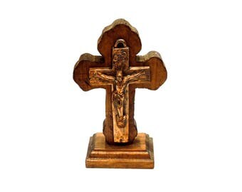 VINTAGE: Standing Wood Cross with Copper Crucifix - Rustic Cross - Religious - God - Prayer - SKU 14-F2-00008786
