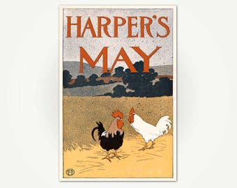 Harper's May Magazine Cover Poster Print - Edward Penfield Vintage Chicken Illustration
