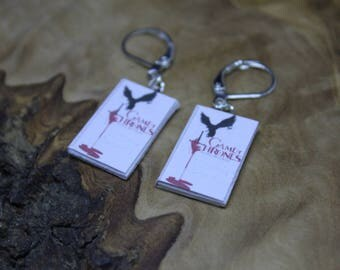 Game of Thrones, Dragon, Drogon, Dracarys, Book cover Charm drop dangle earrings. Dolls house accessories, Miniature. GoT fan must have!