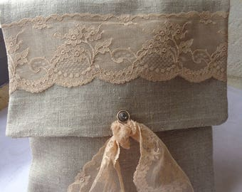 Pocket flat shabby and romantic iridescent linen and lace of calais nude color
