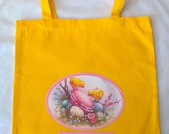 Bag Easter yellow with gold customizable to collect eggs 35 x 39 cm