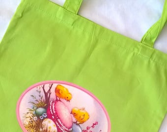 Easter bag Apple green customizable to collect eggs 35 x 39 cm