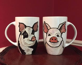Large Pig Mug Set, hand painted glassware by Ana Peralta