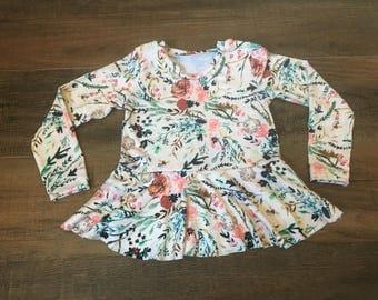 Peplum top, baby peplum top, floral peplum top, long sleeve peplum top, baby shirt, toddler shirt, girls top, toddler peplum top