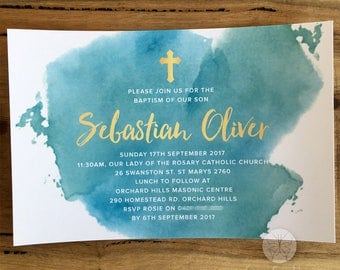 Teal Watercolour Religious Invitation // 120 x 180mm // Change to any Occasion