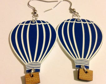 Damn Cute hot air balloon acrylic earrings blue and white