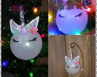 Unicorn Glitter Personalized Ornament Handmade Plastic Disc Christmas Holidays Xmas Festive Decor Tree