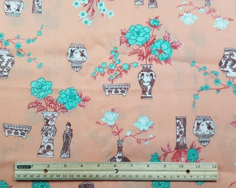Peach Asian Print Fabric, Sold by the Half Yard, Out of Print, FBTHY, Asian Inspired, Vase, Cherry Blossom, Lotus, bonsai tree, quilting
