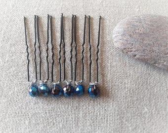 Midnight Blue Crystal bun wedding bridal hair - pin bridal hair pin red Bobby pin set