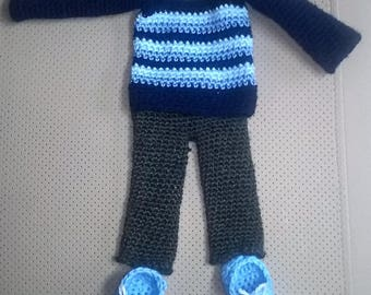 Everyday outfit crochet doll in blue