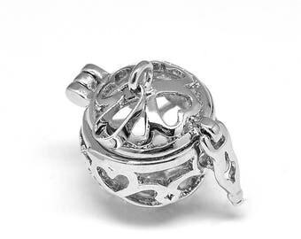 1 Platinum Tone Brass Angel Caller Bola Harmony Ball Wish Box Pendants Round Shamrock Fits 12mm Bead (B487a)