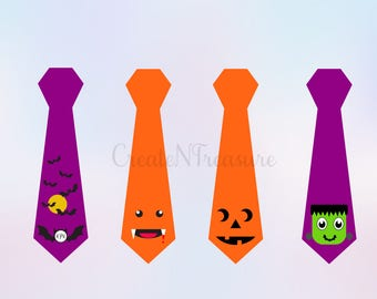 Halloween svg, Halloween ties svg, Pumpkin svg, Monster svg. Cutting file for silhouette cameo and cricut design space. SVG, PNG, DXF