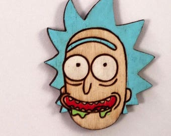 Rick Head Shwifty Handmade Hat Pin | Time to Get Schwifty Hand Painted Wood Brooch