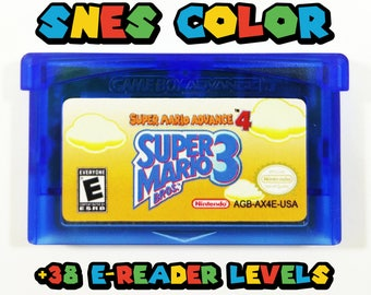 Super Mario 3 Advance 4 with 38 e-Reader Levels and Color Restoration GBA Cartridge for Nintendo Game Boy Advance Cart - Free Shipping!