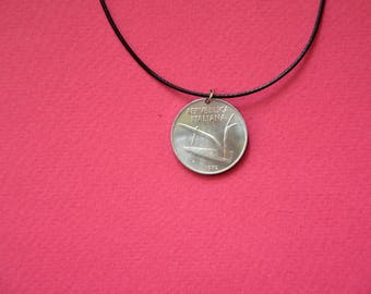 1972 italy coin Italia respublica. ITALIANA 10 Lire. Real Coin Pendant. Сoin jewelry. Mens Necklace, Womens Necklace