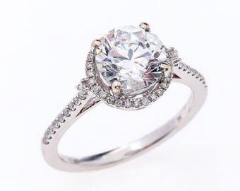 Moissanite Engagement Ring Forever Brilliant Halo 14K White Gold 8mm Brilliant Round Cut