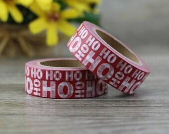 Washi Tape - Christmas Washi Tape - Red HO HO HO washi Tape - Paper Tape - Planner Washi Tape - Washi - Decorative Tape - Deco Paper Tape