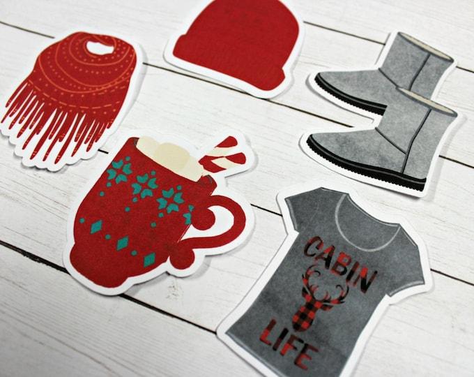 Planner Die Cuts - Die Cut Set - Christmas Die Cuts - Cabin Life Die Cut Set - Winter Die Cuts - Boots die cuts - Christmas Coffee die cuts