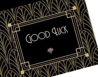 Art Deco Raffle Ticket Wedding Favour, Black Gold Gatsby Style Lottery Ticket Party Favor, 1920s Good Luck Scratch Card & Winner Certificate