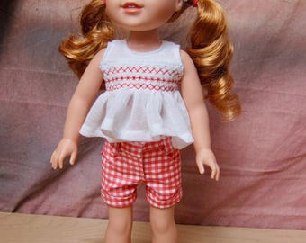 """Handmade Checked Shorts Smock Top 2 Pc Outfit for 14"""" Dolls American Wellie Wishers"""