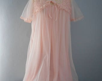 womans vintage pink nylon nightgown and  chiffon 1960