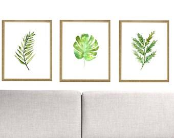 Set of 3 Botanical Leaf Printable Monstera Palm  Wall Decor Leaf Print. Watercolor Leaf Poster.Set of 3 leaves Painting .Botannical Wall Art