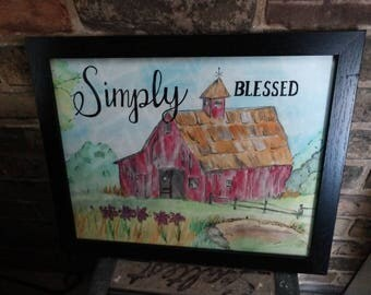 Barn | Simply Blessed | Hometown | Farmhouse | Barn | Country | Original Watercolor | Framed