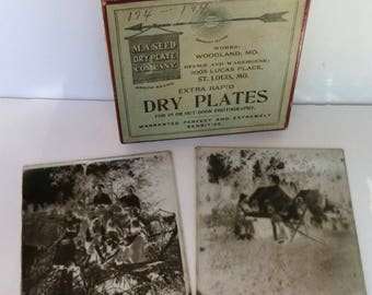 Antique Box of 19 Glass Negatives from M.A. Seed Dry Plate Co Fantastic Images ca 1890