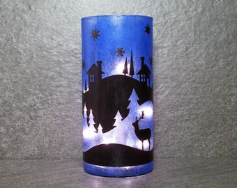 Winter Scene Blue Christmas Light, Blue Christmas Light with Deer