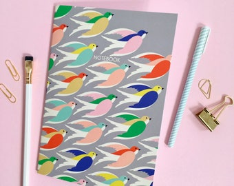 Notebook / A5 notepad / Birds in flight printed notebook / sketchbook / Gift for a friend
