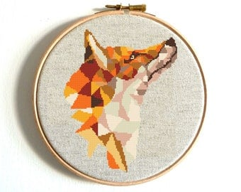 Fox Cross Stitch Pattern Geometric Animals Wild Animal  Printable PDF Pattern Modern Embroidery Chart Counted Xstitch Birthday DIY Gift