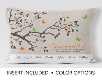 Personalized Grandma gift - butterfly Family Tree Pillow - gift from grandchildren - mothers day gift from granddaughter gift from grandson