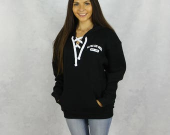 Alpha Chi Omega Hooded Lace Up Sweatshirt in Black