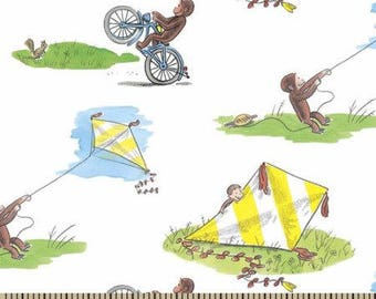 "Curious George Flying Kites for Springs Creative, 43-44"" wide, 100% cotton - by the half yard, licensed fabric, cartoon fabric, book fabric"
