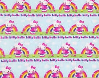 """Hello Kitty with words and rainbows by Springs Creative, 43-44"""" wide, 100% cotton"""