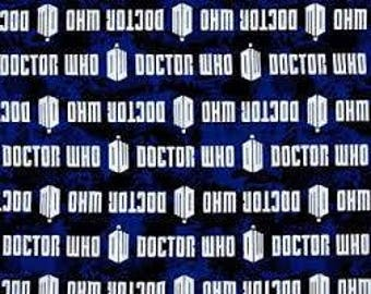 "Doctor Who on Blue by Springs Creative fabric, 43"" wide, 100% cotton, by the half yard"