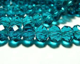10 pucks 3 by 4mm imitation 2J1317 Indicolite Swarovski faceted Crystal