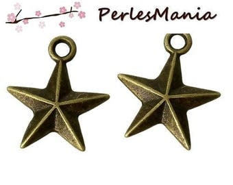 10 beautiful stars two-sided (S1156491) Bronze colored metal charm pendants