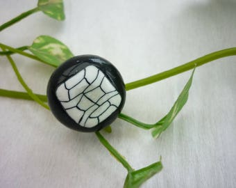 Black round ring, black and white graphic, made, polymer, cabochon 2 cm