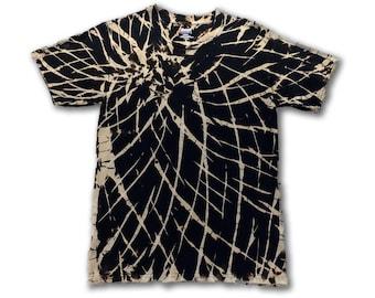 Tie Dye • S • Black Chaos Spirograph • Short Sleeve T-Shirt • Cotton • Reverse Tie Dye
