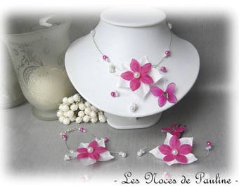Ornament wedding fuchsia and white silk Butterfly Esther 10pcs