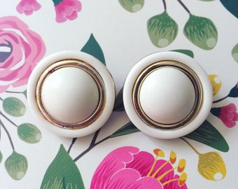 White and Gold Clip On Earrings