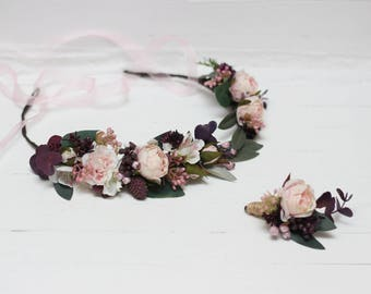 Pink dark purple floral accessories Romantic wedding Flower crown Boutonniere Bridal flowers Flower girl  Bridesmaid Maternity photoprops