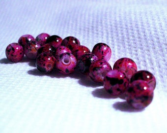 set of 10 black marbled pink glass 6 mm beads