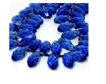 set of 2 dark blue faceted teardrop Crystal 20 mm