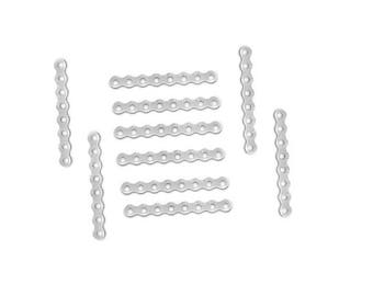 Set of 20 dividers 8 holes 28 mm x 3 mm silver plated