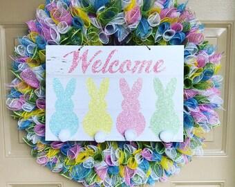 Happy Easter Wreath, Easter Wreath, Easter Decor, Front Door Wreath, Easter Welcome Wreath, Porch Wreath, Outdoor Wreath, Spring Wreath