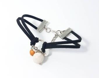 Minimal bracelet polymer clay jewelry heart charm bracel beaded bracelet faux suede bracelet   Minimal jewelry jewellery White Gold