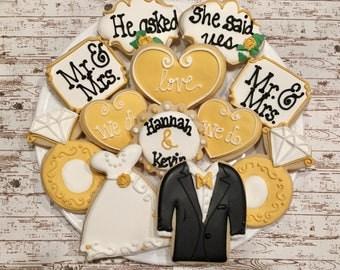 Wedding Sugar Cookies/ Engagement Sugar Cookies / favors / Weddings /Decorated Sugar Cookies/ sugar cookies